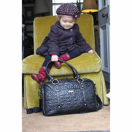Elizabeth Hand Quilted Leather Diaper Bag in Black