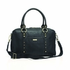 Elizabeth Leather Diaper Bag in Black