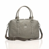 Elizabeth Leather Diaper Bag in Dove Grey