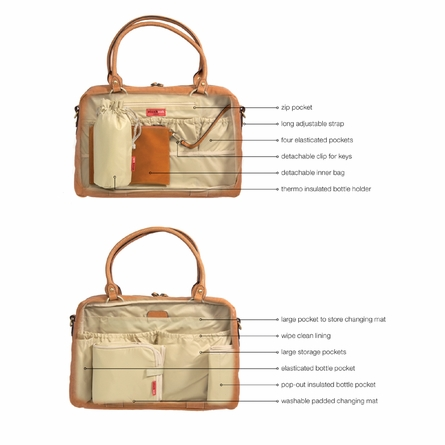 Elizabeth Leather Diaper Bag in Tan