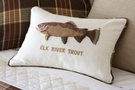 Elk River Trout Hand Embroidered Pillow