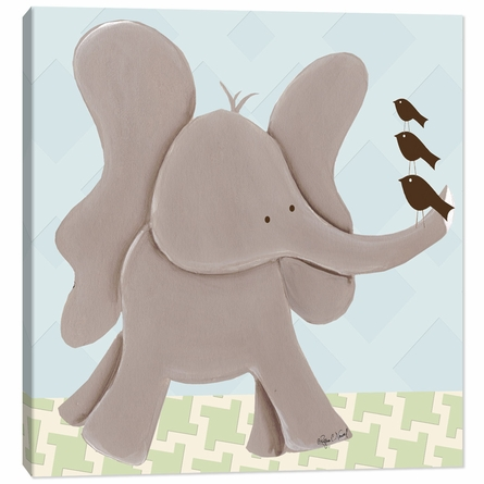 Ellis Elephant in Blue Canvas Reproduction