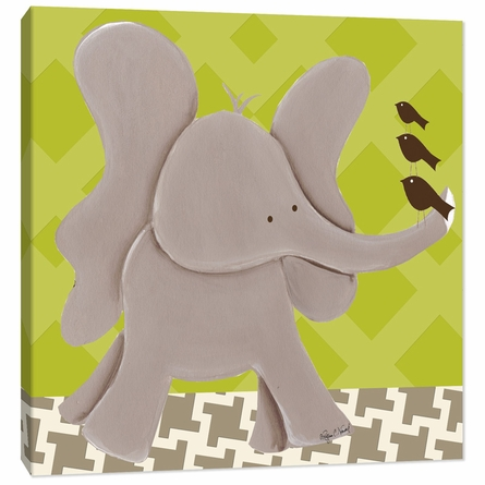 Ellis Elephant in Green Canvas Reproduction