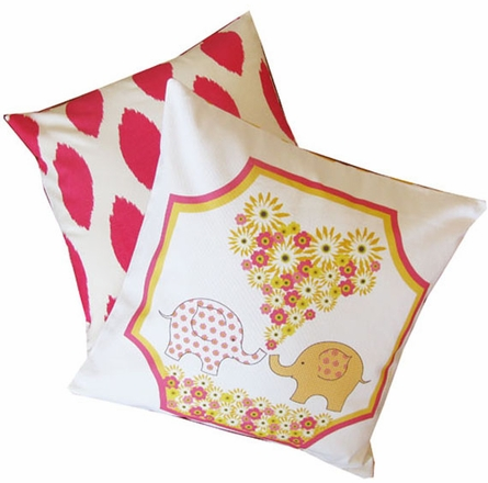 Elovephant Pink Throw Pillow
