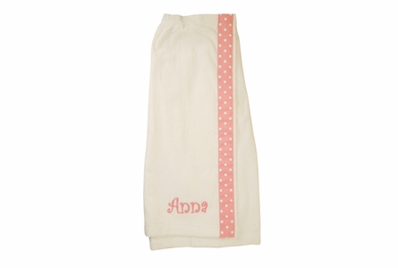 Embroidered Childs Bath Wrap in White & Pink Polka Dots