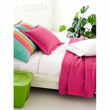 Embroidered Hem White & Fuchsia Sheet Set