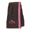 Embroidered Kids Bath Wrap in Chocolate with Pink Polka Dots