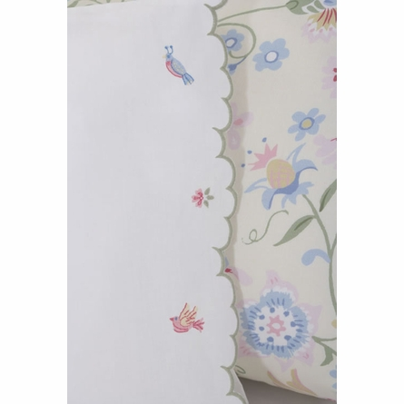 On Sale Embroidered Scallop Twin Sheet Set