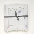 Embroidered Scallop Twin Sheet Set