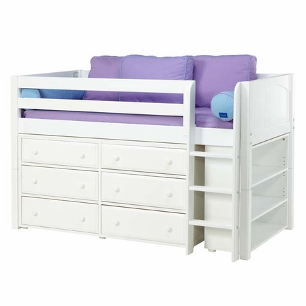 Box Low Loft Bed with Dressers and Bookcase