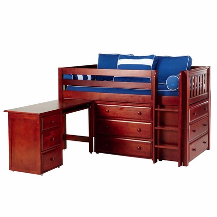 Emerson Low Loft Bed with Dressers and Desk