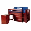Emerson Low Loft Bed with Dressers, Desk and Bookcase