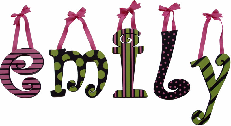 Emily S Funky Mix Wooden Hanging Letters Rosenberryrooms Com