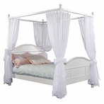 Emma Full 4 Post Bed with Tall Headboard in White