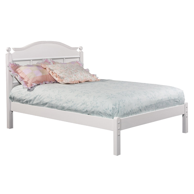 Emma Full Bed With Tall Headboard And Low Footboard In White
