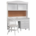 Emma Pedestal Desk with Hutch in White