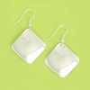 Engraved Silver Plated Diamond Earrings on French Wire