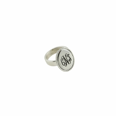Engraved Sterling Silver Braided Round Ring