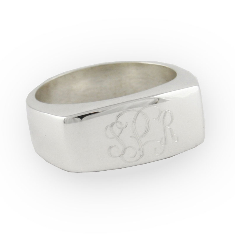 engraved sterling silver flat faced band ring