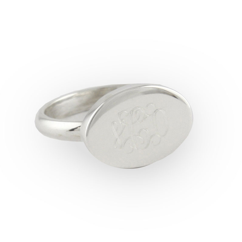 engraved sterling silver horizontal oval ring