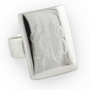Engraved Sterling Silver Large Rectangular Ring