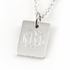 Engraved Sterling Silver Rectangle Pendant with O-ring Attachment