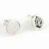 Engraved Sterling Silver Small Round Earrings on Posts