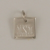 Engraved Sterling Silver Square Pendant with O-ring Attachment