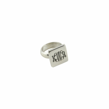 Engraved Sterling Silver Square Ring