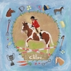 Equestrian Champion on Blue - Brunette Canvas Wall Art