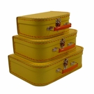 Euro Storage Suitcases - Banana Yellow with Orange Handles