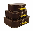 Euro Storage Suitcases - Brownie with Yellow Handles