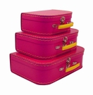 Euro Storage Suitcases - Pinkberry with Yellow Handles