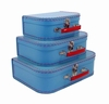 Euro Storage Suitcases - Soft Blue with Red Handles