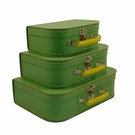 Euro Storage Suitcases - Soft Green with Yellow Handles