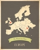 Europe My Roots Continental Map Art Print - Blue