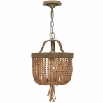 Eva One Light Jute Thread Bead Mini Chandelier