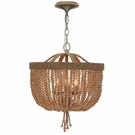Eva Three Light Jute Thread Bead Chandelier