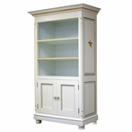 Evan Bookcase in Linen and Blue with Gold Gilding and Appliqued Moulding