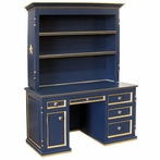 Evan Computer Desk and Hutch in Navy with Gold Gilding