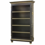 Evan Open Bookcase in Black and Gold Gilding with Appliqued Moulding