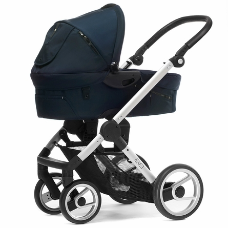 Evo Stroller in Navy with Silver Frame