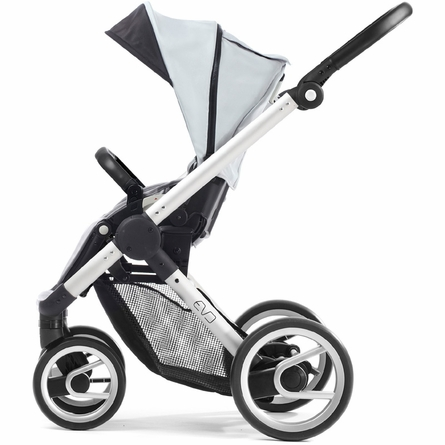 Evo Stroller in White with Silver Frame