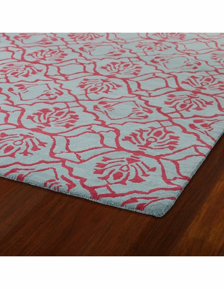Evolution Petite Damask Rug in Pink and Blue
