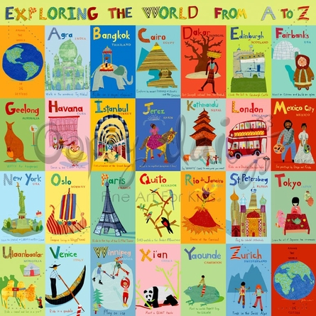 Exploring the World From A-Z Canvas Wall Mural