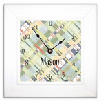 Faded Madras Wall Clock with Wide Frame