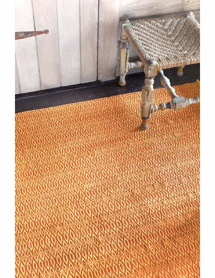 Fair Isle Woven Cotton Rug in Paprika and Curry