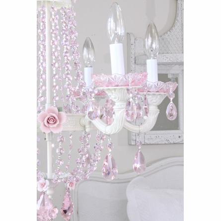 Fairytale Empire Chandelier with Pink Crystals and Roses