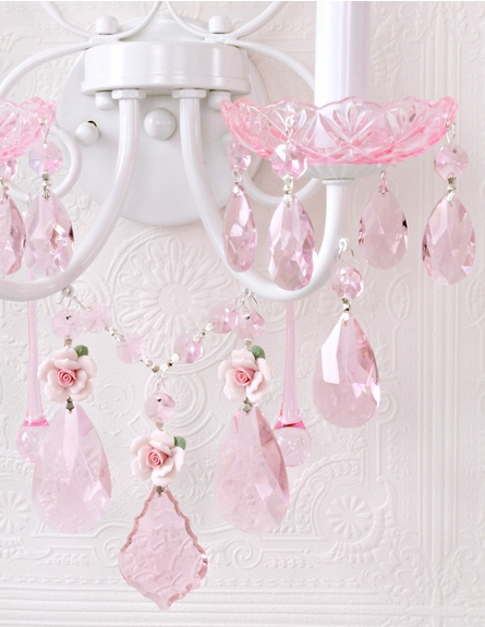 Fairytale Wall Sconce with Pink Crystal and Porcelain Roses