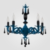 Faith Neon Blue Black Crystal Chandelier